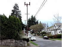 COURTESY OF T-MOBILE - A rendering from a presentation to be given Monday night, April 20, shows the proposed T-Mobile 58-foot cell tower near Southeast 71st Avenue and Yamhill Street. Neighbors are upset about the plan.