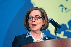 TRIBUNE PHOTO: JAIME VALDEZ - Gov. Kate Brown is going to lead a parade of witnesses on Tuesday, April 21, in support of legislation to change Oregon's campaign contribution laws.