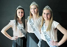 GARY ALLEN - Newberg royalty - Newberg High School students (from left) Rayanne Reid, Tiffany Briant and Mikayla Farr are becoming fast friends as members of the Old Fashioned Festival Court and will vie for the role of queen when the festival returns to town in July.