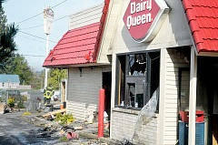GARY ALLEN - Investigation continues - Damage to the southern and western side of the Dairy Queen was severe  during the April 10 fire.