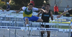 TIMES PHOTO: MATT SINGLEDECKER - Aloha senior Tongia Taufoou won three events against Century on April 15, including the 110-meter hurdles to help the Warriors take down the Jaguars.