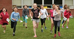 REVIEW PHOTO: VERN UYETAKE - Girls at Forest Hills Elementary School are among 550 third- through fifth-graders in the Portland area who are participating in Girls on the Run. The international program teaches them how to build endurance, pace themselves and use mental strength to complete a 5K race.