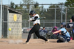JOHN WILLIAM HOWARD - Junior Kayla Finch takes a swing during the Lions' 5-1 win over Liberty on Wednesday. Finch has been on a tear as of late, following some sound advice from the coaching staff about her approach to the plate.