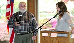 TIMES PHOTO: MILES VANCE - Ed Casey, a longtime Tualatin resident and lifetime member of the Tualatin Chamber of Commerce, received the Spirit of Tualatin award Thursday at the Tualatin Country Club.