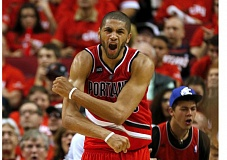 TRIBUNE PHOTO: JONATHAN HOUSE - Nicolas Batum reacts to a call in Game 3 against Memphis.