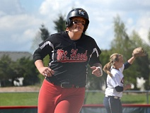 THE OUTLOOK: DAVID BALL - Mt. Hood CCs Mercedes Green rounds third base after the first of her two home runs in the Saints 8-5 win in Game 2 Saturday.