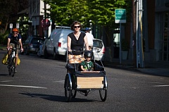 PHOTO BY  - Kari Schlosshauer, a BikeLoud PDX member and Clinton Street neighbor, bikes with her two kids (one pictured here) every day. Shes hoping Bike to Shop and other events will make the neighborhood greenway safer.