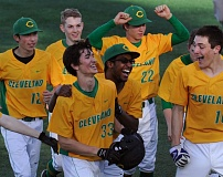 COURTESY OF ROSS WILLIAM HAMILTON/PPS - Cleveland High baseball players congratulate Ray Clark (33) for his game-winning hit Monday in a 3-2 come-from-behind victory over Wilson in the PIL City Slugfest at Concordia University.