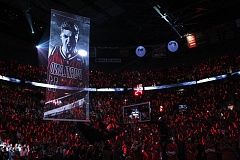 An image of Blazers stretch 4 Meyers Leonard reigns over the crowd at Moda Center moments before Monday night's Game 4, Portland vs. Memphis.