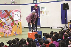 INDEPENDENT PHOTO: TYLER FRANCKE - Actors Erubiel Valladares Carranza and Cassie Greer perform in 'Pedro's Path to Power' Friday morning at Washington Elementary School.