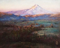 SUBMITTED - Northwest inspiration - The sprawling landscapes Michael Orwick creates, such as 'Into the Morning,' clearly take inspiration from  the state of Oregon and its natural beauty. Growing up in the Cascades and the Willamette Valley, the artist's work prominently features scenes from those regions.