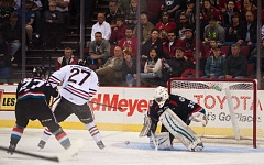 COURTESY OF DIEGO G. DIAZ - Oliver Bjorkstrand swoops in on the Kelowna net for the Portland Winterhawks during Tuesday night's playoff game at Moda Center.