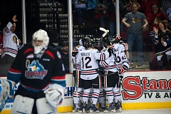 The Portland Winterhawks celebrate one of their seven goals.