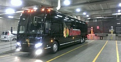 TRIBUNE PHOTO: JASON VONDERSMITH - The Portland Winterhawks' new bus, parked in the garage at Moda Center during Wednesday night's Game 4 of the Western Hockey League Western Conference finals.