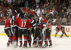 TRIBUNE PHOTO: JONATHAN HOUSE - The Kelowna Rockets celebrate their 3-2 victory over the Portland Winterhawks in Game 4 of the WHL Western Conference finals at Moda Center.