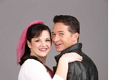 CRAIG MITCHELLDYER/BROADWAY ROSE THEATRE COMPANY - Peter Liptak is Danny Zuko and Kylie Clarke Johnson is Sandy Dumbrowski in this delightful stage version of 'Grease.'