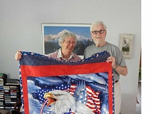BARBARA SHERMAN - Norma and Chuck Spencer have enjoyed a quilt given to Chuck at a June 2014 veterans' celebration in King City.