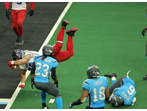COURTESY OF PORTLAND THUNDER - John Martinez goes over the goal line for a Portland Thunder touchdown Saturday in a road game against the Philadelphia Soul