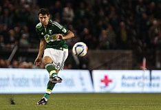 Diego Valeri, making his 2015 debut for the Portland Timbers after an ACL injury at the end of the 2014 season, plays a ball Saturday night against the Vancouver Whitecaps.