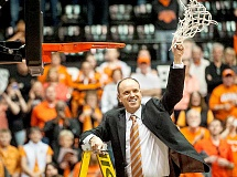 COURTESY OF OREGON STATE UNIVERSITY - Homecoming - Oregon State University head women's basketball coach Scott Rueck cuts down the nets following the Beavers first-ever Pac-12 championship this past season. The former George Fox head coach will return to Newberg May 16 for the Mayors' Prayer Breakfast, which will be held at 8 a.m. at George Fox University's Klages Dining Hall.