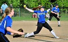 SETH GORDON - The windup - Madison Plummer gears up for a pitch during Newberg's 1-0 loss to Tualatin April 28. Plummer allowed five hits in the tough luck loss.