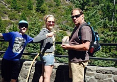 BRETT NELSON - Prineville resident Brett Nelson photographed this family after he saw the children defacing a metal railing at Tumalo Falls. Since posting the photo on Facebook, describing the incident it has gone viral nationwide.