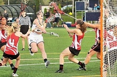 FILE PHOTO - Goal machine - George Fox attack Miranda Edwords was named to the All-Northwest Conference first team and selected to compete with the USA Select Lacrosse Team during the summer of 2016 after scoring a team-high 59 goals this season.