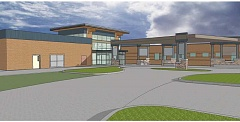 ILLUSTRATION COURTESY OF NEENAN CO. - The new entrance for St. Charles Madras will be located on the hospital's east side, with the addition located on the northeast part of the building.