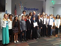COURTESY CITY OF BEAVERTON - The winners of the 2015 Human Rights Advisory Commissions Creative Expressions contest were honored at the May 12 Beaverton City Council meeting. Students submitted artworks expressing the importance of human and civil rights.