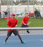 JEFF WILSON/THE PIONEER - Obie Eriza, front, and Jered Pichette became the first Madras boys to advance to the state tennis tournament in more than a decade.