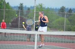 SPOKESMAN PHOTO: COREY BUCHANAN - Hanna Heilig hits a forehand during the district tournament.