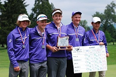 COURTESY PHOTO: KELLY ORR - The Sunset boys golf team took second overall at the  6A state championship match at Emerald Valley Golf Course on Monday and Tuesday.