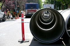 TRIBUNE PHOTO: JONATHAN HOUSE - Large sewer pipes wait to be installed at a $3.5 million project that could serve a proposed subdivision above Southwest Macadam Avenue near Taylors Ferry Road.