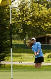 VERN UYETAKE - Lakeridge's Kendall Freeman chips a ball on the green at this week's tournament. She was her team's top scorer at districts, carding rounds of 84 and 83 at Arrowhead.