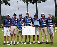 Joe Torkelson, Adam White, Alex Wrenn, Riley Elmes, Cole Madey, Brock Anderson and coach Jason Owens pose with their trophy and team scores after winning the state golf title for the fourth straight year.