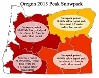MAP COURTESY OF U.S. DEPARTMENT OF AGRICULTURE - This map of Oregon shows how serious the lack of snowpack is in 2015. For the region of the state where Washington County is located, the snowpack was between 60 to 90 percent below its normal peak levels, and the peak came early, ranging from six to 12 weeks earlier than normal.