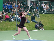 TIMES PHOTO: MILES VANCE - Jesuit's Bess Waldram hits a forehand en route to winning the Class 6A state singles championship at Tualatin Hills Tennis Center on Saturday, May 23.