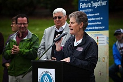 TRIBUNE PHOTO: ADAM WICKHAM - Superintendent Carole Smith speaks at the ground-breaking ceremony at Franklin High School May 16 for the $104 million bond-funded reconstruction process. On July 1, Smith will have to face four new Portland Public Schools board members who have been critical of her leadership.