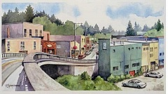 IMAGE COURTESY OF VILLAGE FRAME AND GALLERY - Kaye Synoground painted many still life images from Multnomah Village during the 16 years when she had a gallery there. This painting is called View from the Bridge.