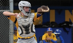 THE OUTLOOK: PARKER LEE - Barlow catcher Michael Smith comes up throwing during the team's play-in victory over South Eugene.