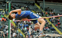 SETH GORDON - Swan song - Newberg senior Jacoby Wolfe closed out his career by placing second in the high jump (6-7) Saturday at the OSAA 6A state championships in Eugene.