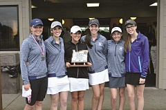 SUBMITTED PHOTO - The Wilsonville girls golf team holding their second place trophy after the 5A state tournament.