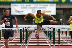 TIMES PHOTO: JONATHAN HOUSE  - Jesuit junior Julian Body won both the 110-meter and 300 hurdle state championships on Saturday at Hayward Field. Body also helped the Jesuit 4 X 400 relay team take third overall.