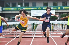 MATTHEW SHERMAN - West Linn's Tristan Stallcup stumbles across the finish line en route to a second-place finish in the 110 hurdles at the state track meet in Eugene.