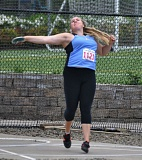 MATTHEW SHERMAN - Lakeridge's Maddie Rabing unleashes a throw in the discus event at the state track meet in Eugene. She would win the event shortly after winning the shot put for the second straight year.