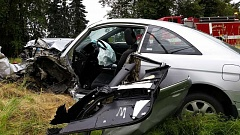 The aftermath of a two-car accident Monday afternoon along Highway 2013 north of Molalla.