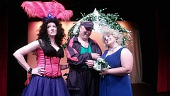 COURTESY PHOTO - Ronald, played by Donald Cleland, and Kiki, played by Anne Kennedy, meet with Teeta, the only ordained showgirl minister in Las Vegas, played by Patti Speight.