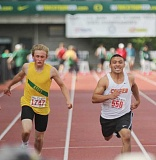 JEFF WILSON/THE PIONEER - Culver senior Fern Badillo races to the finish line in the 2A boys 100-meter dash Friday. He would place seventh, giving the Bulldogs another placing on the podium.
