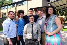 REVIEW PHOTO: VERN UYETAKE - Park Academy students are experiencing the joy of high school graduation: (left to right in the back row) Max Brebner, Emerson Thatcher-James, Andrew Onofrei, David Brink, Kylie Grizzell; and (in the front) Sam Perl. (Not pictured is Christopher Wold.)