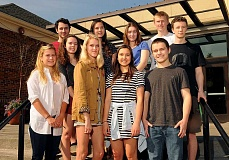 REVIEW PHOTO: VERN UYETAKE - Riverdale High School top scholars enjoy a sunshine-filled day (from left): back row, Tal Volk, Megan Larkin, Caroline Edwards, Elizabeth Berry, Guy Eroh and Tucker Ped; front row, Isabelle Gilges, Charlotte Logeais, Natalie Chuang and Nate Klein. (Not pictured: Patricia Torvalds)